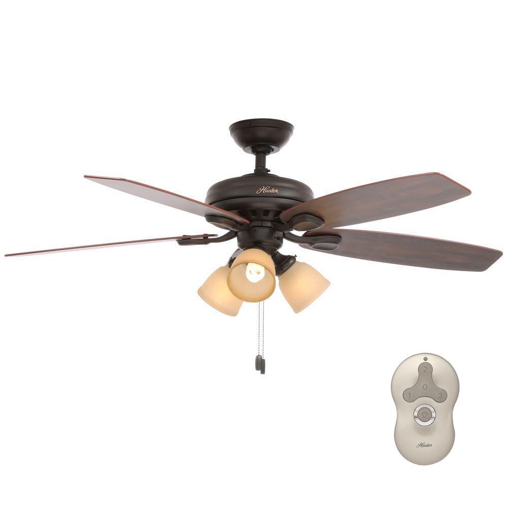 Hunter Highbury 52 in. Indoor New Bronze Ceiling Fan with Light Kit