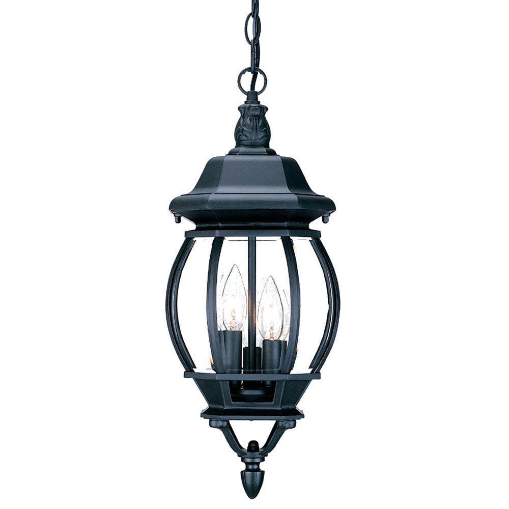 Chateau Collection 3-Light Matte Black Outdoor Hanging Lantern Light Fixture