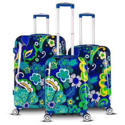 The Floral Collection 3-Piece Navy Floral Expandable Hardside Luggage Set