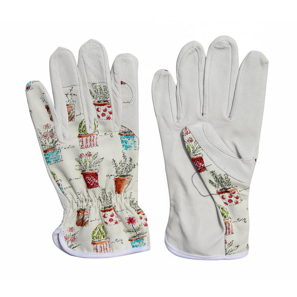Worth Garden Cute Canvas and Leather Protective Gardening Gloves Cheerful Bonsai Print Design for Women