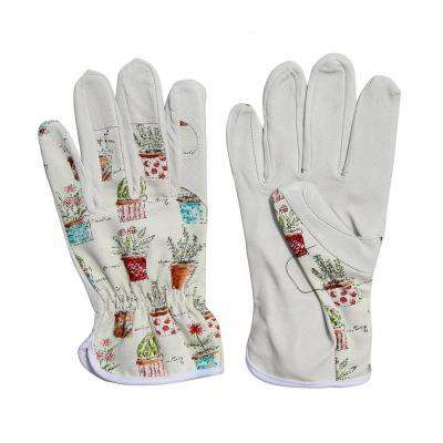 Cute Canvas and Leather Protective Gardening Gloves Cheerful Bonsai Print Design for Women