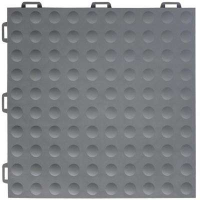 StayLock Bump Top Gray 12 in. x 12 in. x 0.56 in. PVC Plastic Interlocking Gym Floor Tile (Case of 26)