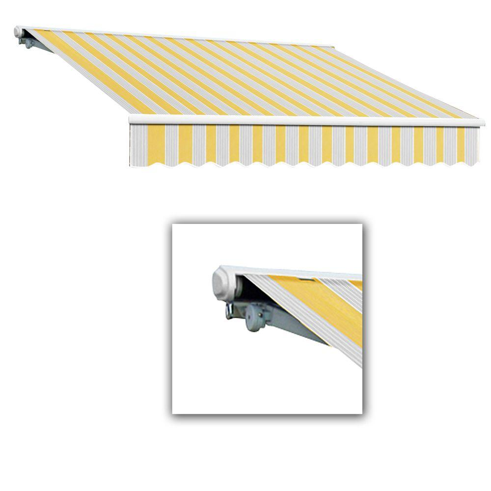 AWNTECH 24 ft. Galveston Semi-Cassette Left Motor with Remote Retractable Awning (120 in. Projection) in Yellow/Gray/Terra