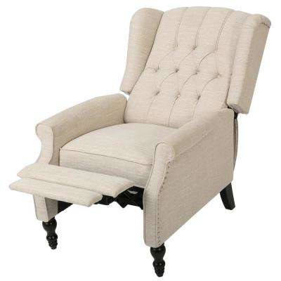 Walter Light Beige Fabric Tufted Wingback Recliner
