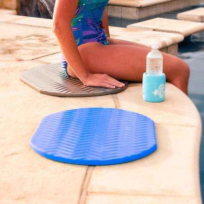 Oval Foam Bronze and Blue Cushion for Poolside Lounging (2-Pack)