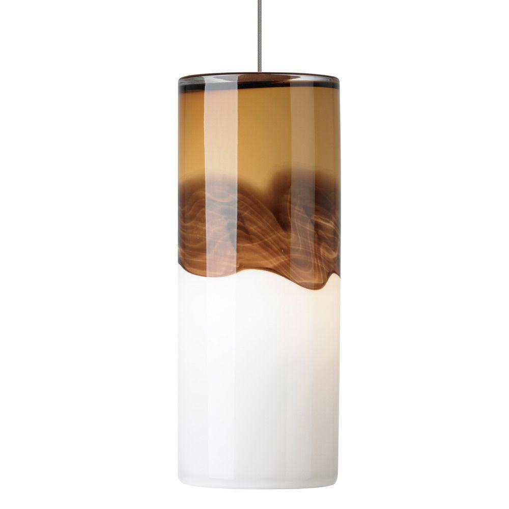 LBL Lighting Rio 1-Light Bronze Xenon Mini Pendant with Amber/Dark Brown Shade