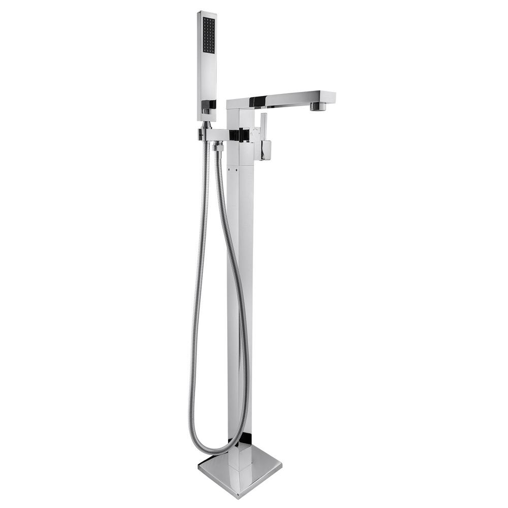 1-Handle Freestanding Floor Mount Roman Tub Faucet Bathtub Filler with Hand
