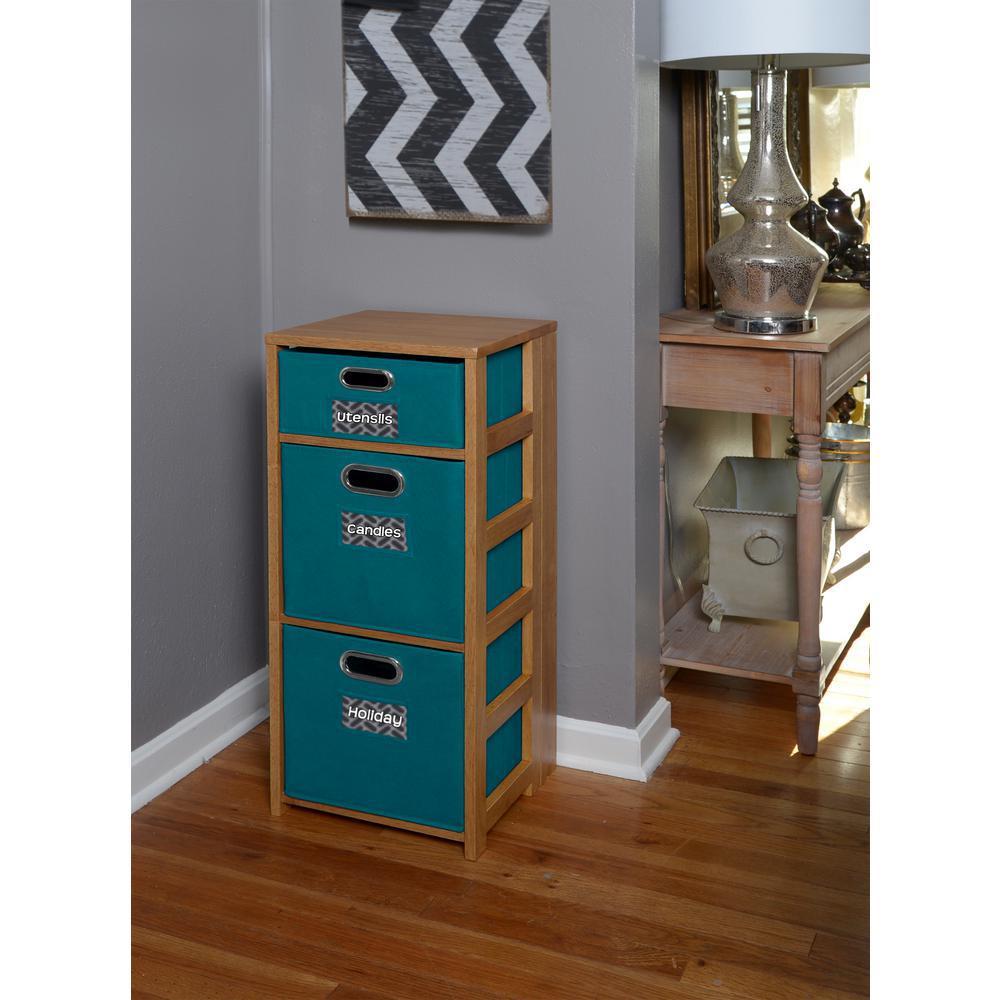 Flip Flop Medium Oak and Teal 3-Shelf Folding Bookcase and Storage Tote Set