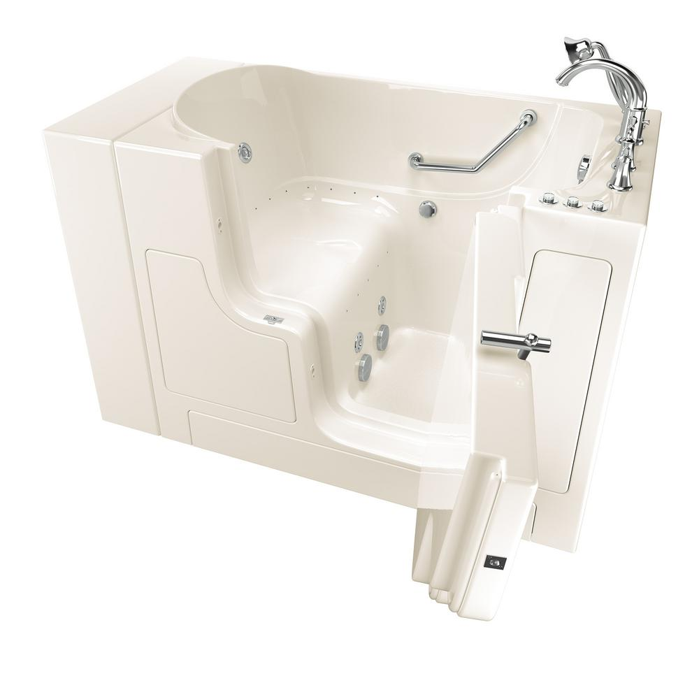 American Standard Gelcoat Value Series 51 in. Right Hand Walk-In Whirlpool and Air Bathtub with Outward Opening Door in Linen