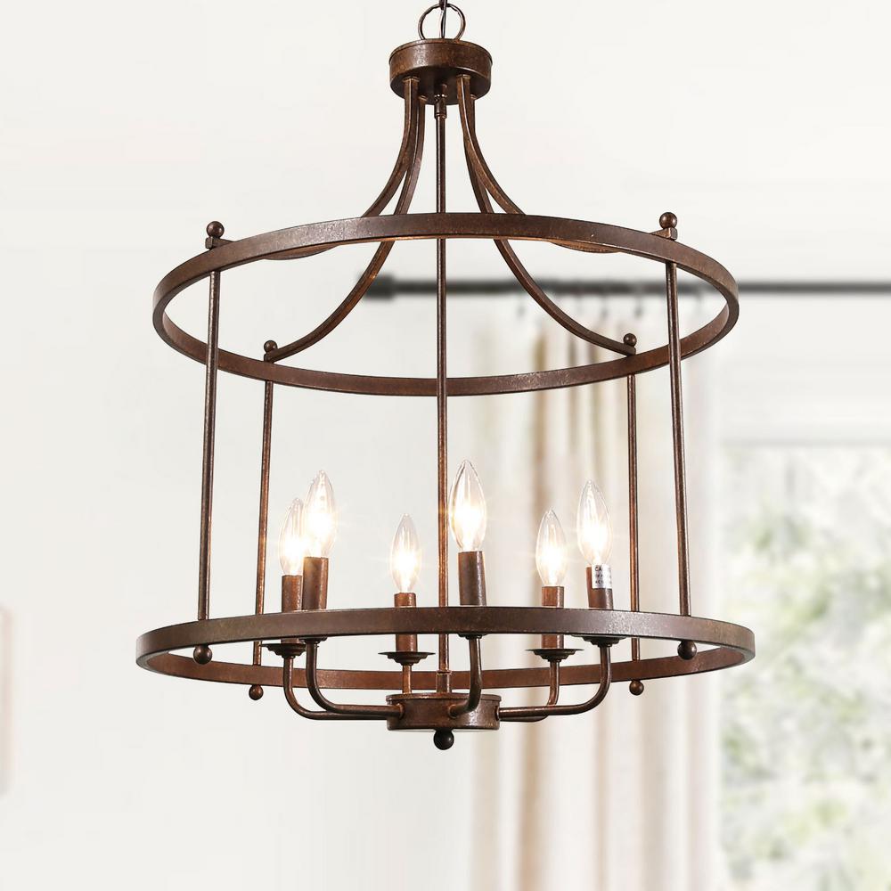 6-Light Antique Bronze Unique Open Cage Drum Lantern Modern Cottage Industrial Candle Chandelier Island Pendant