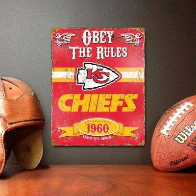 14.5 in. H x 11.5 in. D Heavy Duty Steel Kansas City Chiefs Embossed Metal Sign Wall Art