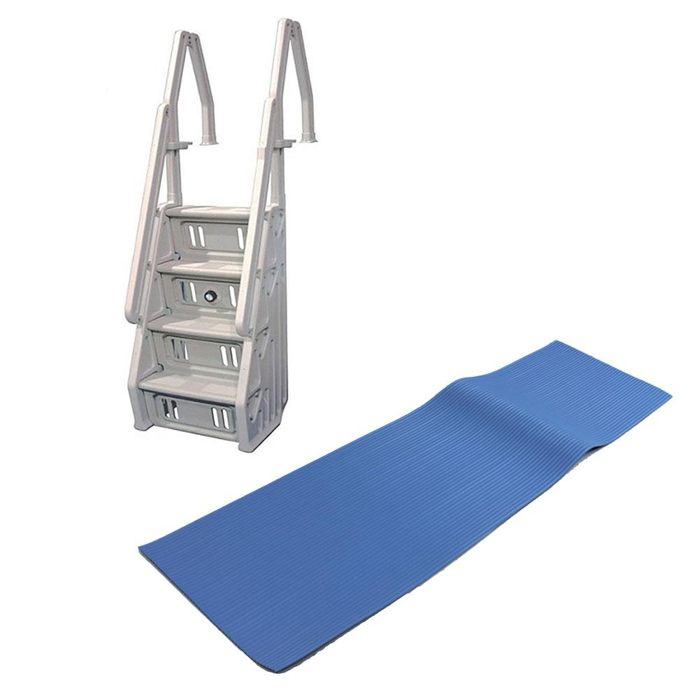 The Vinyl Works In Step Ladder and Protective Ladder Mat for Above Ground  Swimming Pool