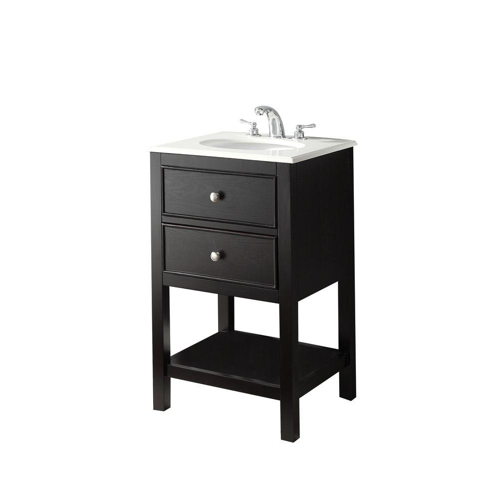 Simpli Home Wilmington 21 in. Vanity in Black with Marble Vanity Top in White Quartz and Under-Mounted Oval Sink