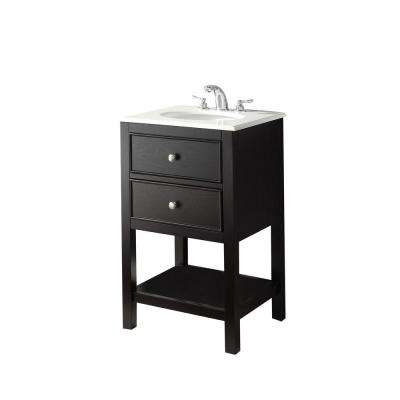 Wilmington 21 in. Vanity in Black with Marble Vanity Top in White Quartz and Under-Mounted Oval Sink