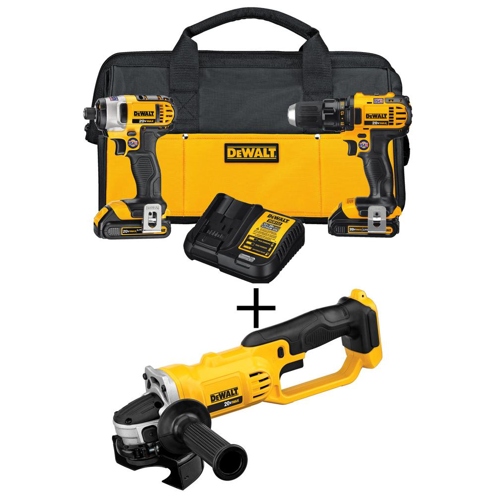 DEWALT 20-Volt MAX Lithium-Ion Cordless Drill/Driver & 4-1/2 in. Grinder Combo Kit (2-Tool) w/ (2) 20-Volt Batteries 1.5Ah
