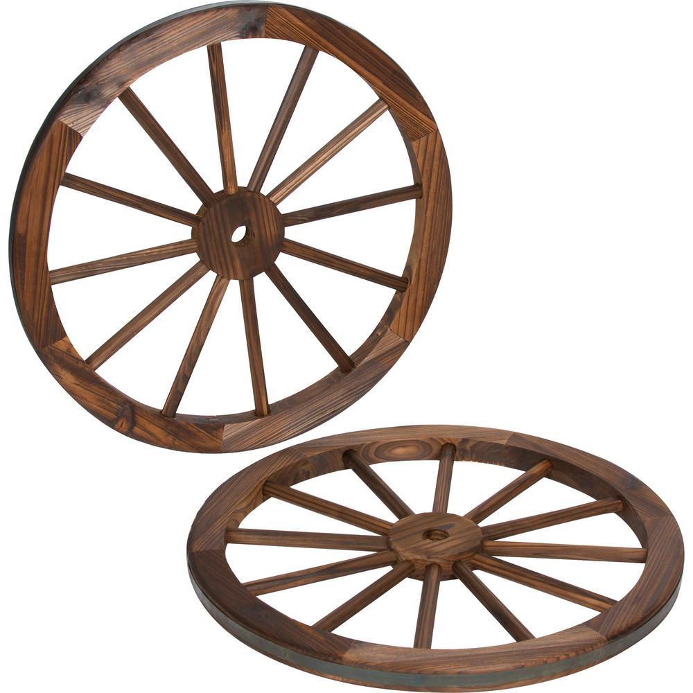 Decorative 24 in. Dia Vintage Wood Garden Wagon Wheel With Steel Rim