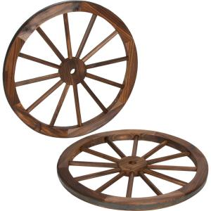 Trademark Innovations Decorative 24 inch Dia Vintage Wood Garden Wagon Wheel With Steel Rim by Trademark Innovations