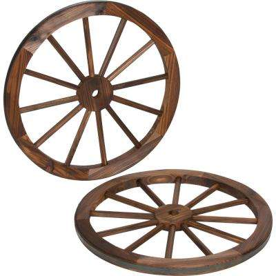 Decorative 24 in. Dia Vintage Wood Garden Wagon Wheel With Steel Rim
