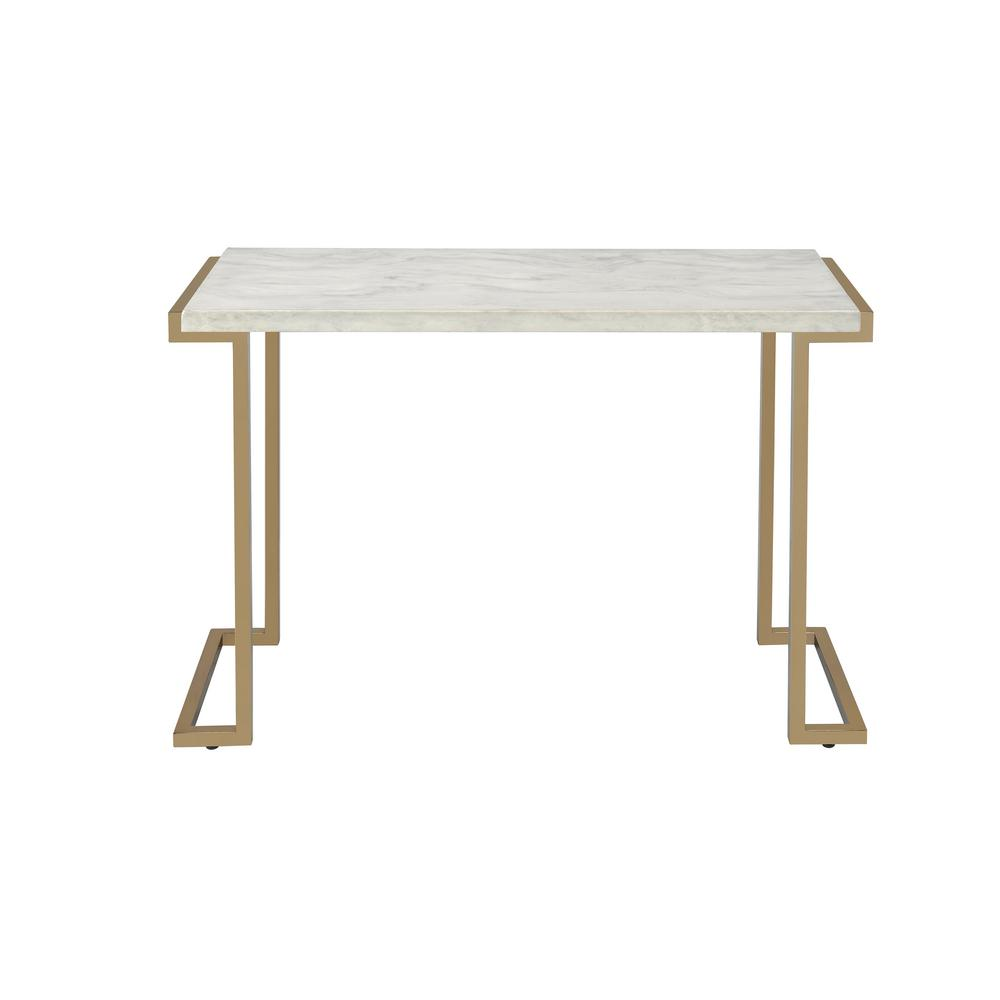 Acme Furniture Boice Ii Faux Marble And Champagne Console Table 82873 The Home Depot