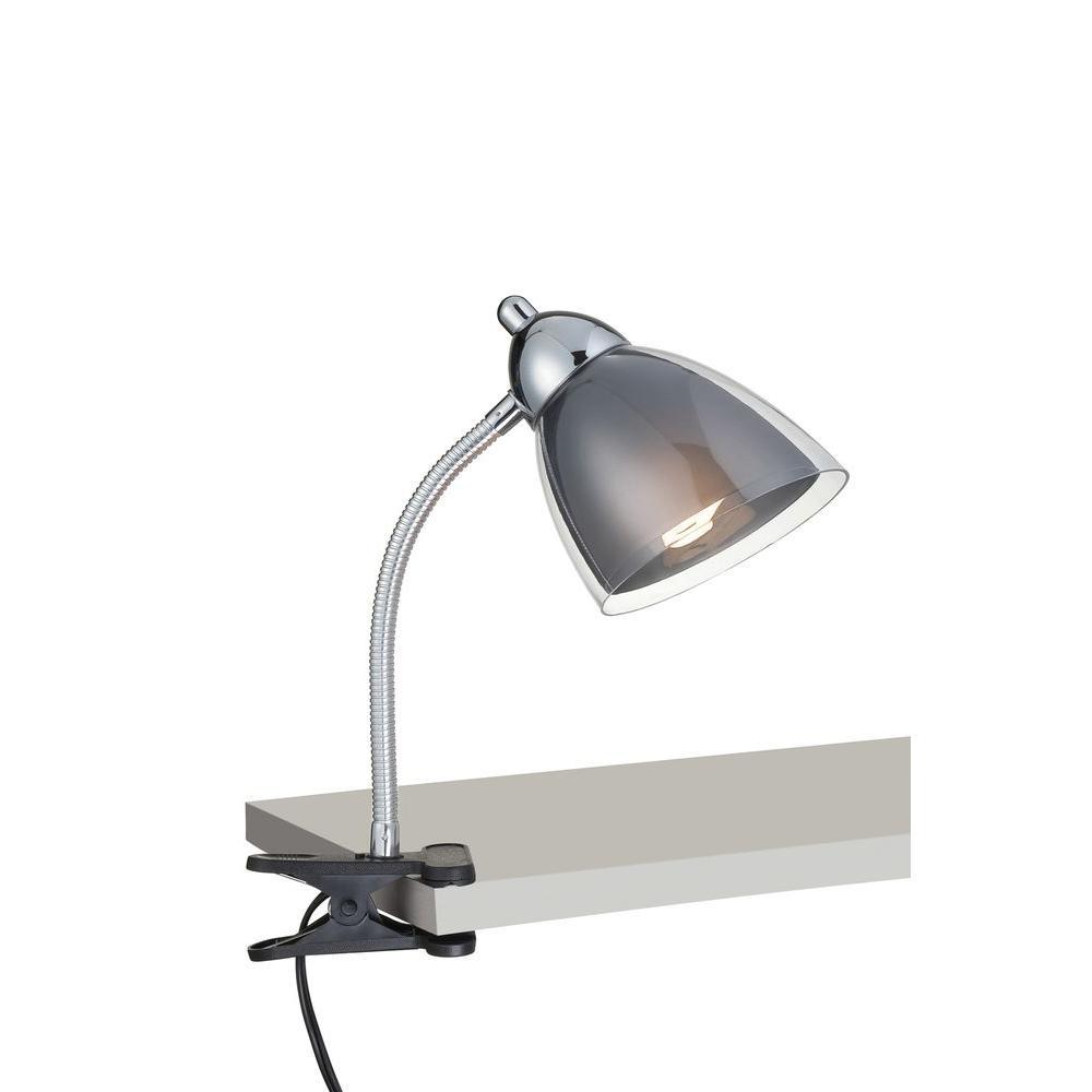 Illumine Designer Collection 12 in. Chrome Desk Lamp with Smoke Acrylic Shade