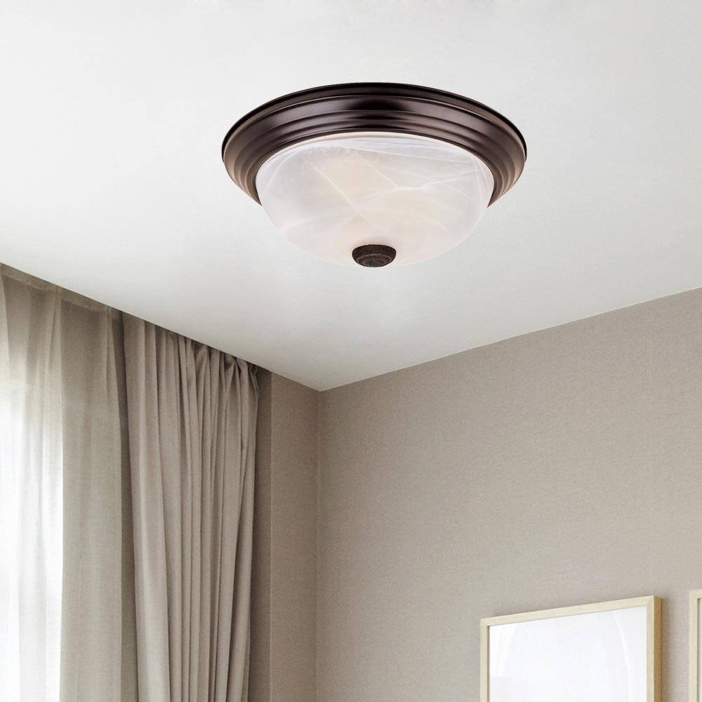 "Decorative Flushmount 14"" Medium 2-Light Oil Rubbed Bronze Ceiling Flush Mount"
