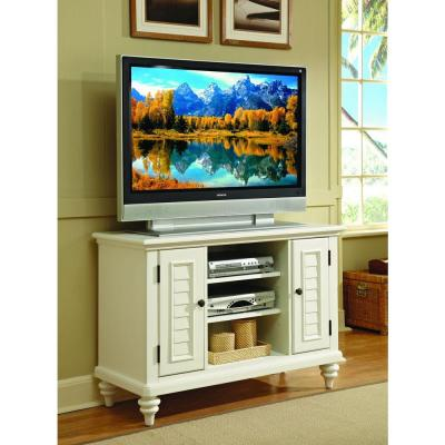 Bermuda Brushed White Storage Entertainment Center