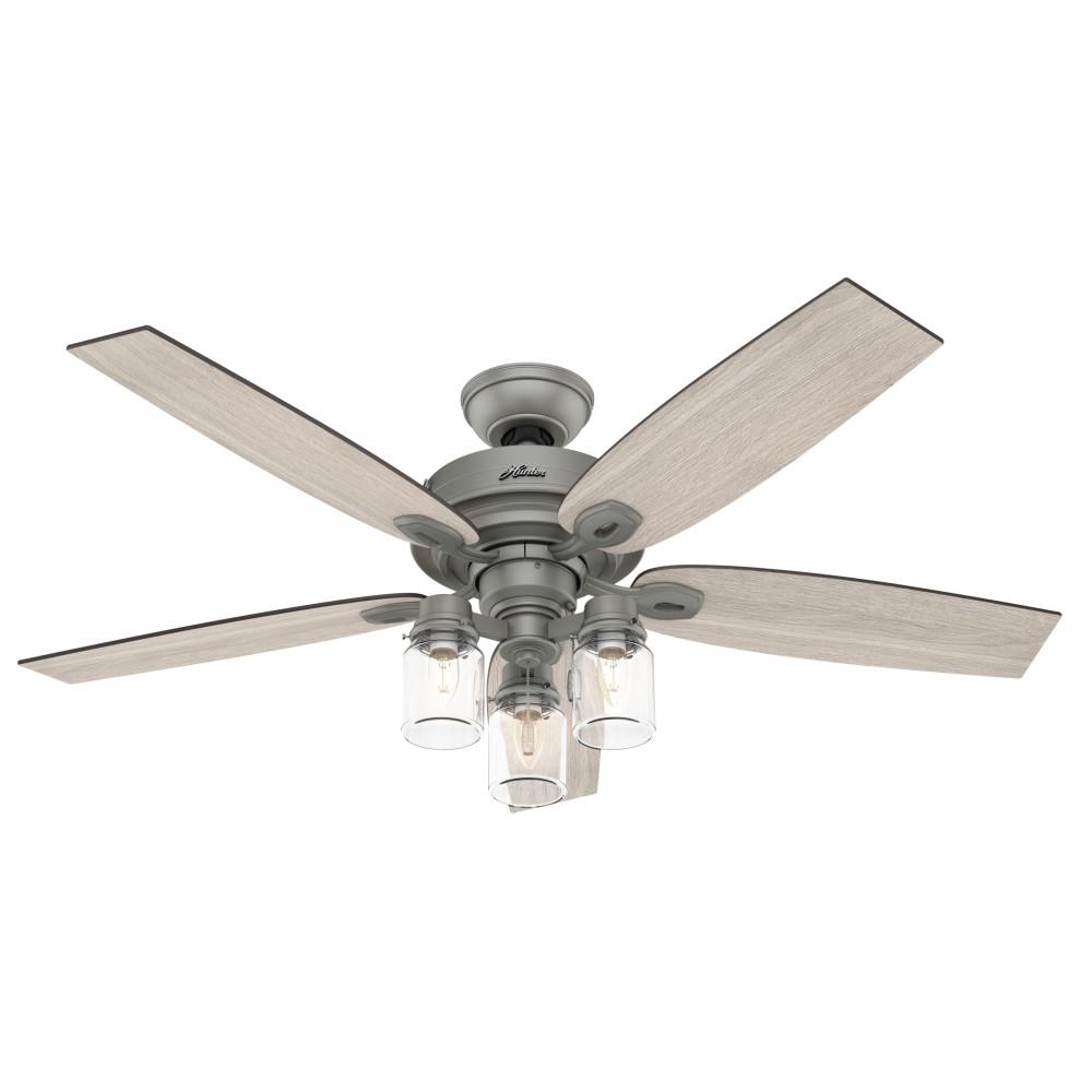 Hunter Crown Canyon 52 in. LED Indoor Matte Nickel Ceiling Fan with Light Kit