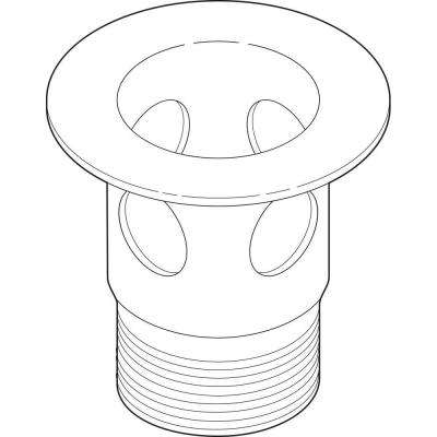 2-1/8 in. Metal Drain Flange for Bathroom Sinks in Stainless with Overflow Holes