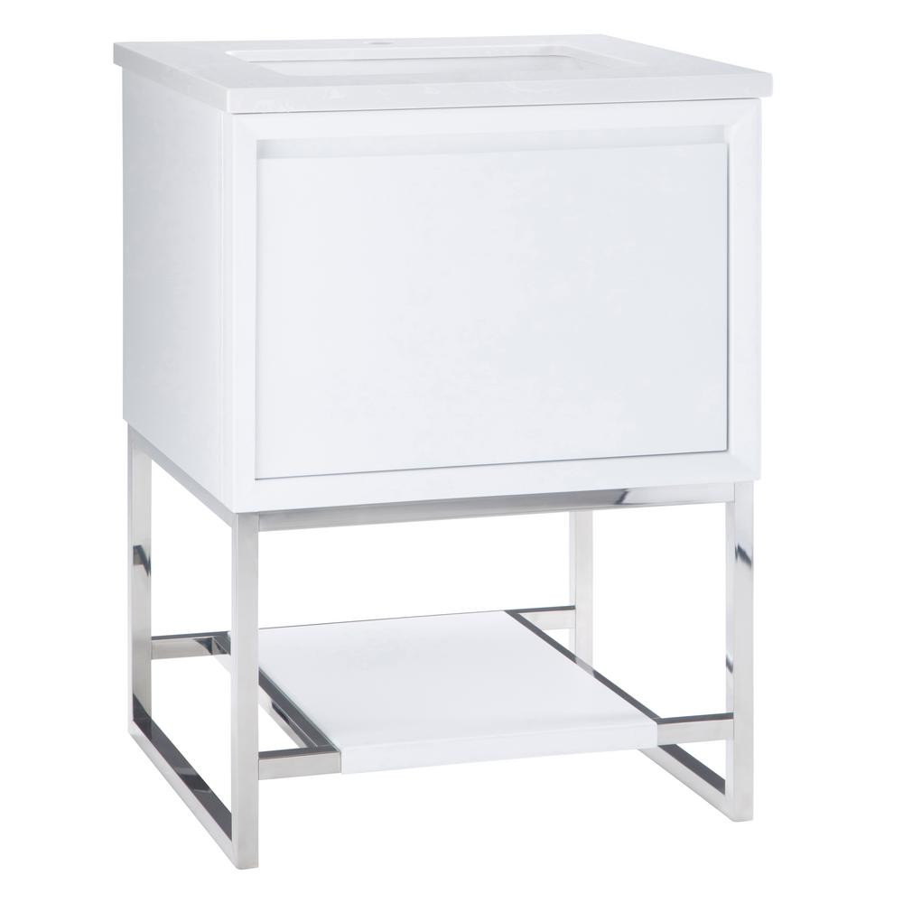 Simpli Home Hardy 24 in. W x 21.5 in. D Bath Vanity in White with Marble Extra Thick Vanity Top in Marbled White with White Basin was $723.0 now $469.0 (35.0% off)