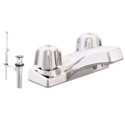 Traditional Collection 4 in. Centerset 2-Handle Washerless Bathroom Faucet in Chrome with Brass Pop-Up