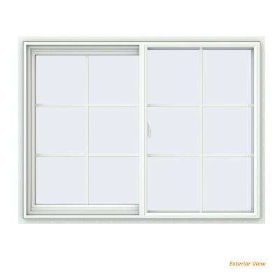 47.5 in. x 35.5 in. V-2500 Series White Vinyl Left-Handed Sliding Window with Colonial Grids/Grilles
