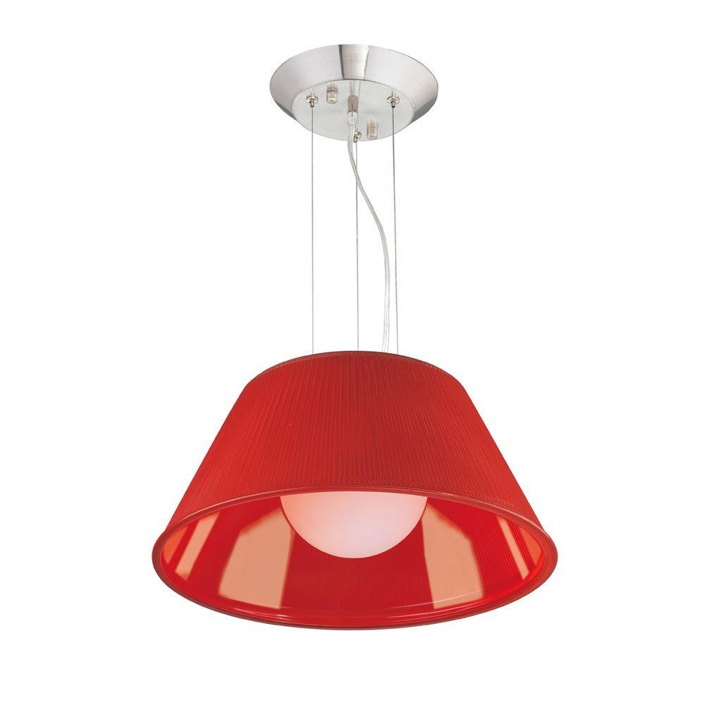 Ribo Collection 1-Light Chrome and Red Large Pendant