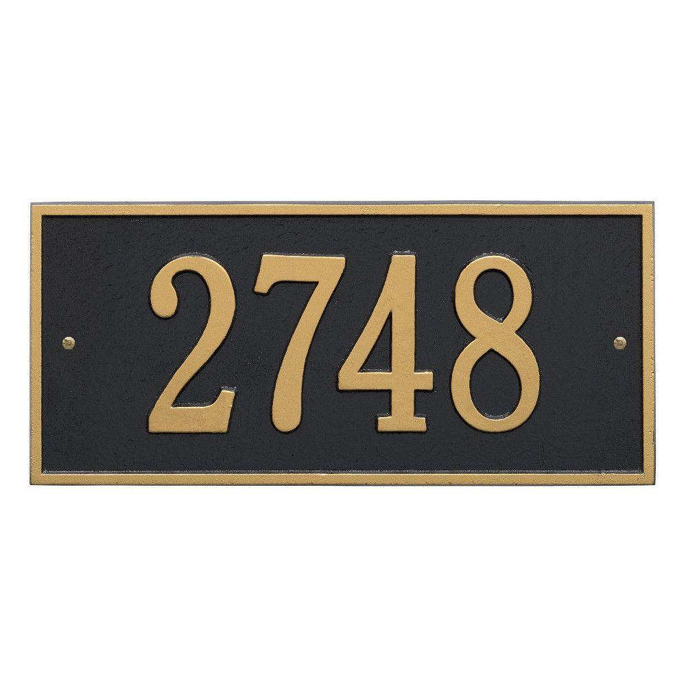 Hartford Rectangular Black/Gold Standard Wall 1-Line Address Plaque