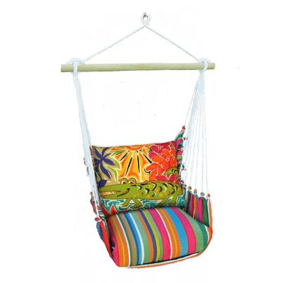 3-Piece Wood Polyester Cushioned Porch Swing with Colorful Alligator Print Back Pillow