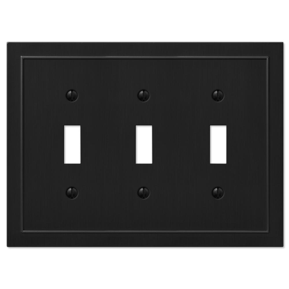 Bethany 3 Gang Toggle Metal Wall Plate - Black
