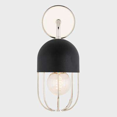 Aiden 1-Light Polished Nickel Wall Sconce with Black Accents