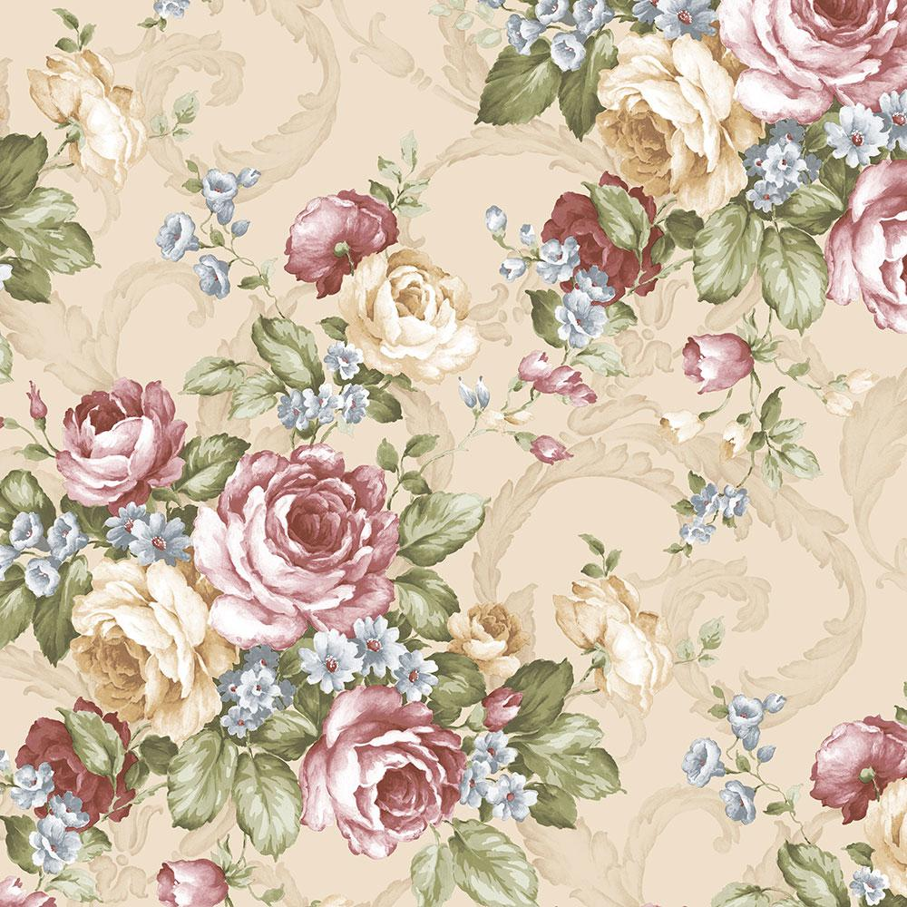 Norwall grand floral wallpaper ch22529 the home depot - Floral wallpaper home depot ...