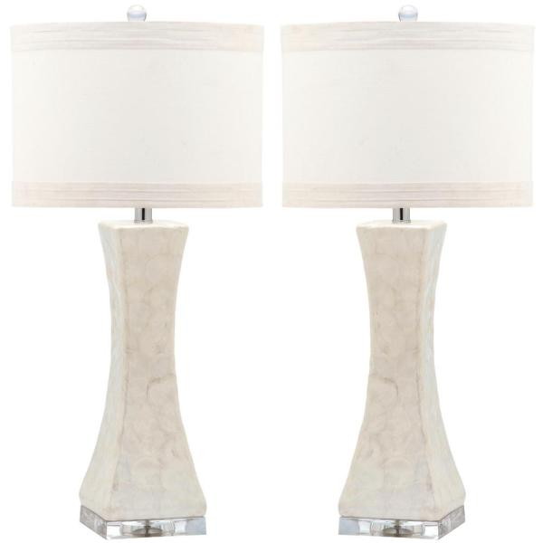 Shelley 30 in. White Concave Table Lamp with Off-White Shade (Set of 2)