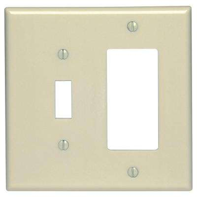 2-Gang 1-Toggle 1-Decora Midway Size Plastic Combination Wall Plate, Ivory