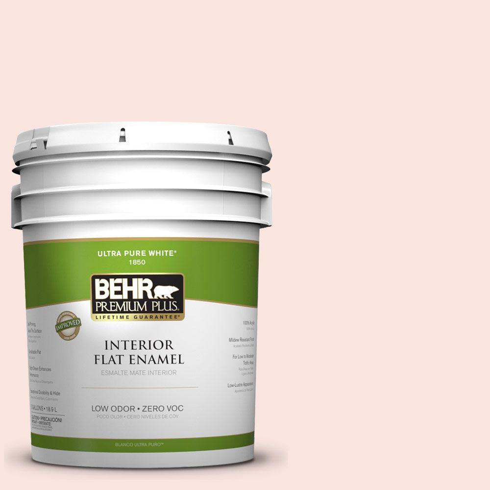 BEHR Premium Plus 5-gal. #180A-1 Cloud Pink Zero VOC Flat Enamel Interior Paint-DISCONTINUED