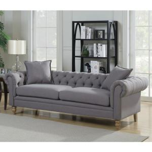 AC Pacific Juliet Collection Contemporary Grey Linen Fabric ...