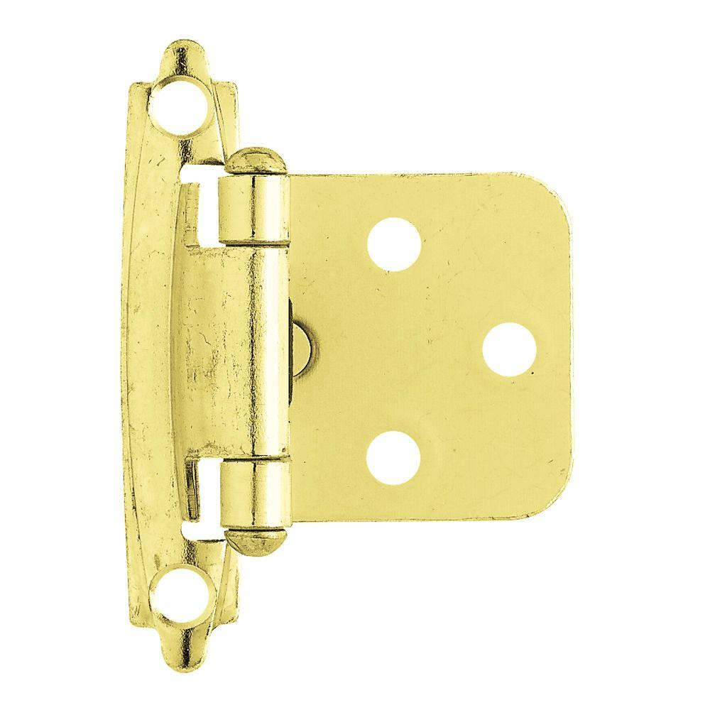 Polished Brass Self-Closing Overlay Cabinet Hinge (1-Pair)