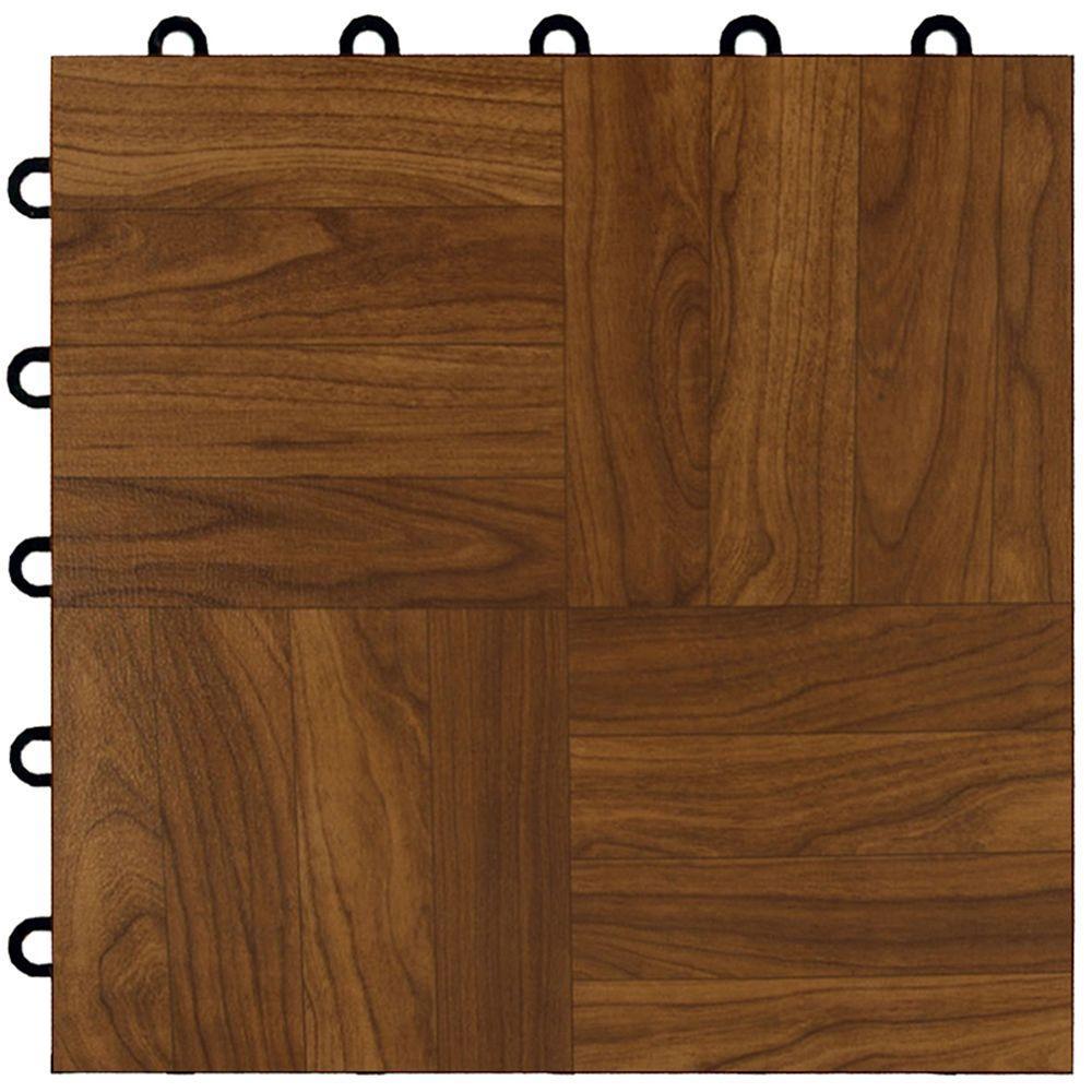 Max Tile 12 in. x 12 in. x 5/8 in. Dark Oak Vinyl Interlocking Raised Modular Floor Tile (Case of 26)