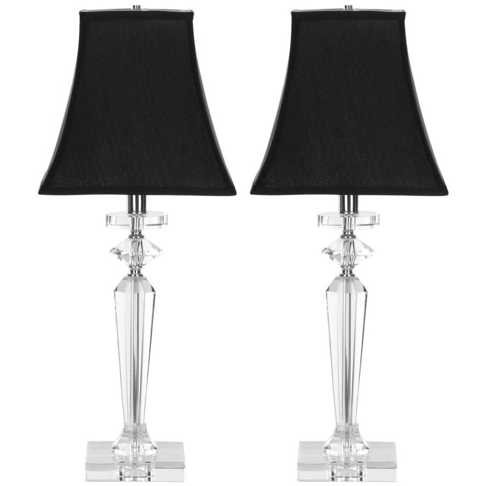 Clear/Black Crystal Table Lamp with Shade (Set of 2 - Black - Clear - Table Lamps - Lamps - The Home Depot