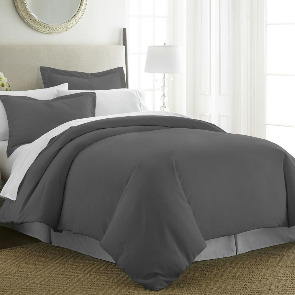 Performance Gray King 3-Piece Duvet Cover Set