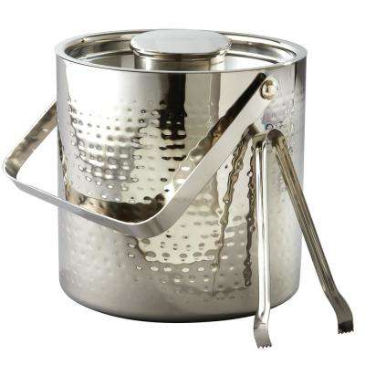 3 Qt. Hammered Stainless Steel Large Ice Bucket with Lid and Tongs
