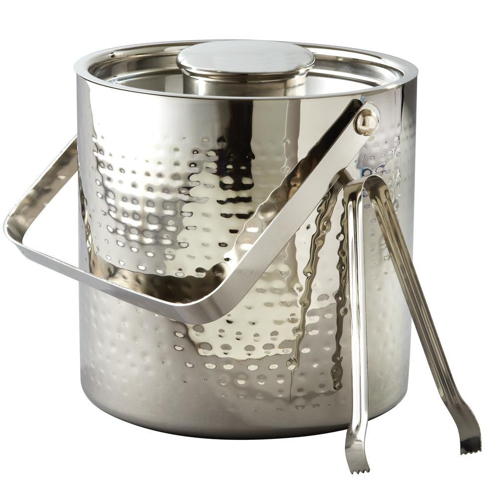 3 Qt. Hammered Stainless Steel Large Ice Bucket with Lid and