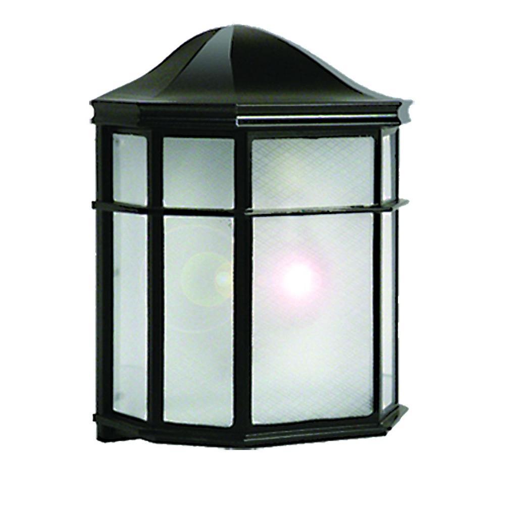 1-Light Black Outdoor Incandescent Wall Mount Light