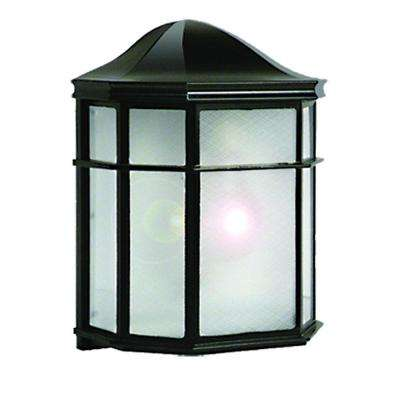 1-Light Black Outdoor Incandescent Wall Mount Light