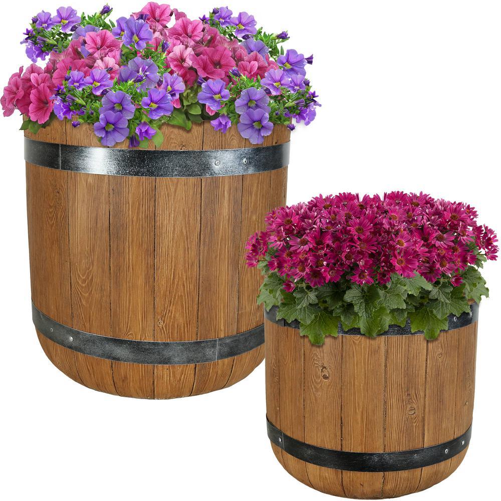Vineyard 15 in. and 19 in. Fiber Clay Classic Barrel Durable Indoor/Outdoor Planter Flower Pot Set (2-Piece)